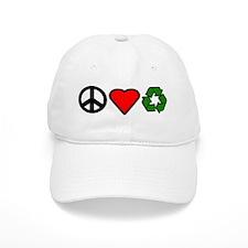 Peace Love Recycling Baseball Cap
