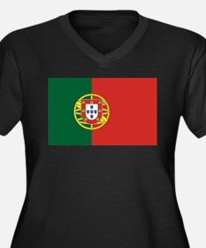 Flag of Portugal Women's Plus Size V-Neck Dark T-S
