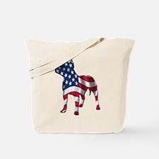 Patriotic Pit Bull Design Tote Bag