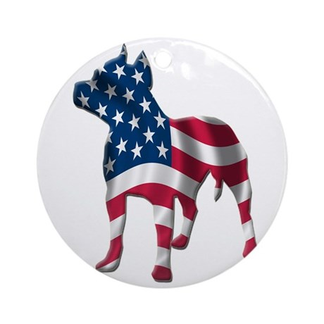 Patriotic Pit Bull Design Ornament (Round)