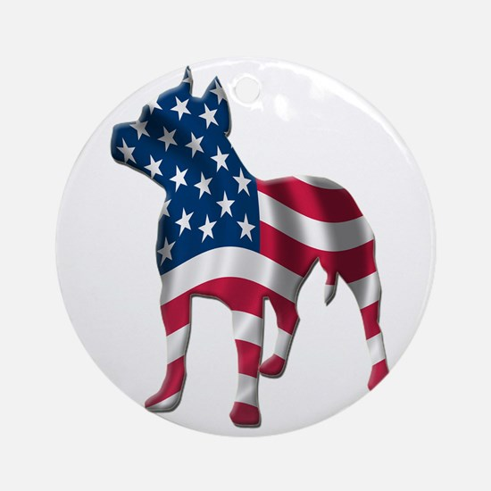 Patriotic Pit Bull Design Ornament (Round)