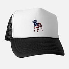 Patriotic Pit Bull Design Trucker Hat