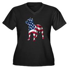 Patriotic Pit Bull Design Women's Plus Size V-Neck