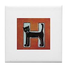 Cute Cat alphabet Tile Coaster