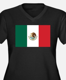 Flag of Mexico Women's Plus Size V-Neck Dark T-Shi