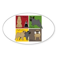 Pugs Do It All Oval Decal