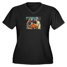 The Card Players Women's Plus Size V-Neck Dark T-S