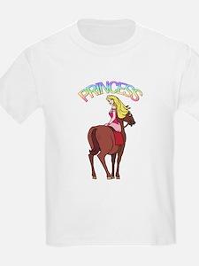 Blonde Princess with Pony Kids T-Shirt
