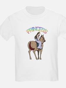 Brunette Princess and Pony Kids T-Shirt