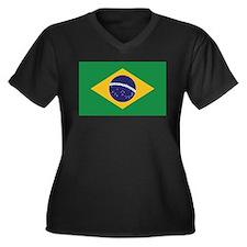 Flag of Brazil Women's Plus Size V-Neck Dark T-Shi