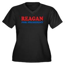 Reagan for President Women's Plus Size V-Neck Dark