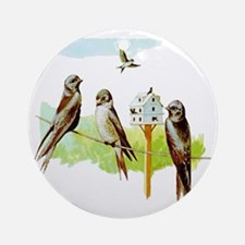 Purple Martin Bird Ornament (Round)