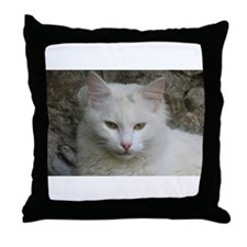 White Cat Photo Throw Pillow