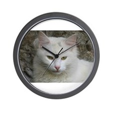 White Cat Photo Wall Clock