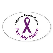 Purple Ribbon For My Niece 4 Oval Decal
