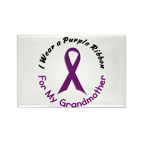 Purple Ribbon For My Grandmother 4 Rectangle Magne