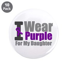 """I Wear Purple (Daughter) 3.5"""" Button (10 pack"""