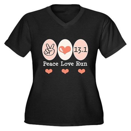 Peace Love Run 13.1 Women's Plus Size V-Neck Dark