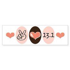 Peace Love Run 13.1 Bumper Bumper Sticker