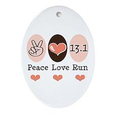 Peace Love Run 13.1 Oval Ornament