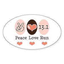 Peace Love Run 13.1 Oval Decal