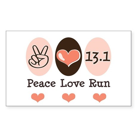 Peace Love Run 13.1 Rectangle Sticker