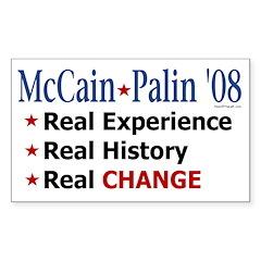 McCain/Palin Real Change Rectangle Decal