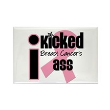 I Kicked Breast Cancer's Ass Rectangle Magnet