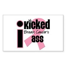 I Kicked Breast Cancer's Ass Rectangle Decal