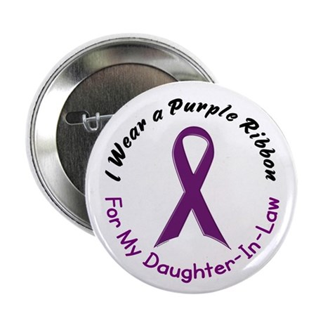 """Purple Ribbon For My Daughter-In-Law 4 2.25"""" Butto"""