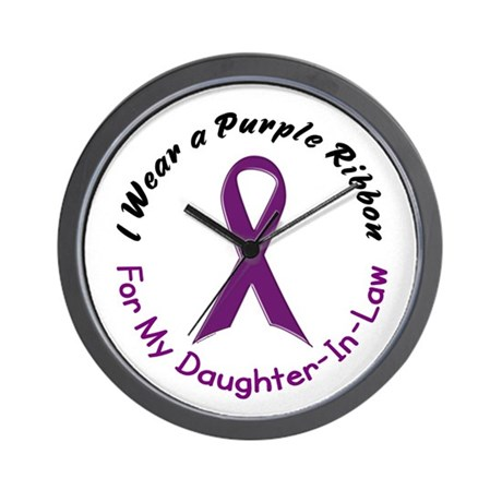 Purple Ribbon For My Daughter-In-Law 4 Wall Clock