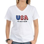 USA No. 1 Women's V-Neck T-Shirt