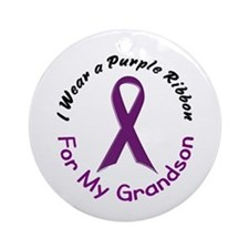 Purple Ribbon For My Grandson 4 Ornament (Round)