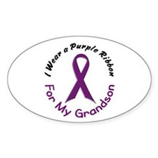 Purple Ribbon For My Grandson 4 Oval Decal
