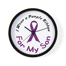 Purple Ribbon For My Son 4 Wall Clock