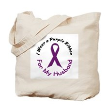 Purple Ribbon For My Husband 4 Tote Bag