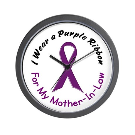Purple Ribbon For My Mother-In-Law 4 Wall Clock