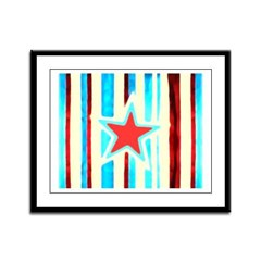 Red White and Blue Star Framed Panel Print