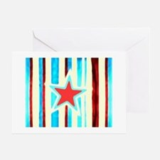 Red White and Blue Star Greeting Card