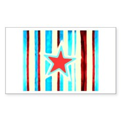 Red White and Blue Star Rectangle Sticker