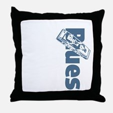 Harmonica Blues Vert. Throw Pillow
