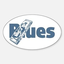 Harmonica Blues Oval Bumper Stickers