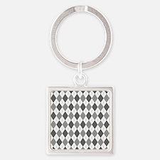 Grey: Argyle Pattern Square Keychain