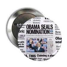 """Historic Headlines Obama 2.25"""" Button (10 pack)"""