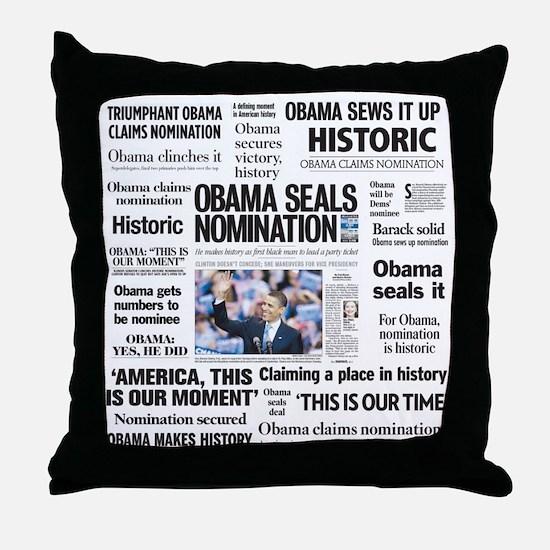 Historic Headlines Obama Throw Pillow