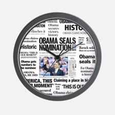 Historic Headlines Obama Wall Clock