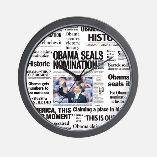 Historic Headlines Obama Wall Clock