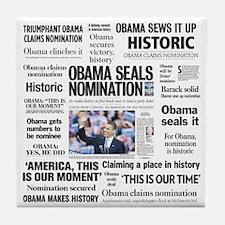 Historic Headlines Obama Tile Coaster