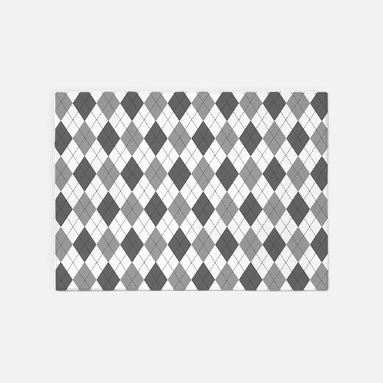 Grey: Argyle Pattern 5'x7'Area Rug