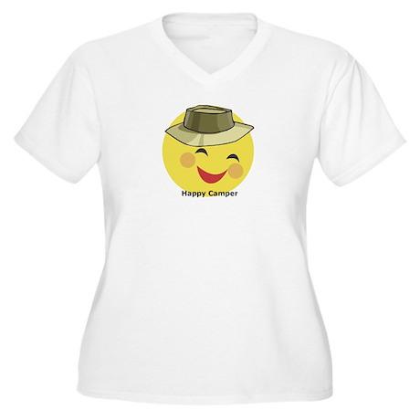 Happy Camper Women's Plus Size V-Neck T-Shirt